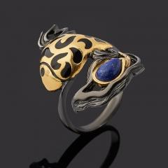 Кольцо лазурит Афганистан (серебро 925 пр. родир. черн. позолота) размер 17,5