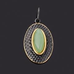 Кулон нефрит зеленый Россия (серебро 925 пр. позолота, родир. черн.) овал