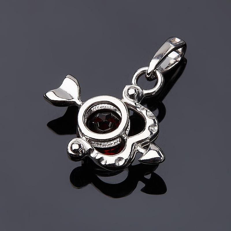 Кулон гранат альмандин Индия (серебро 925 пр. родир. бел.) Стрелец огранка