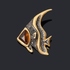 Кулон янтарь Россия (серебро 925 пр. позолота, родир. черн.) рыба