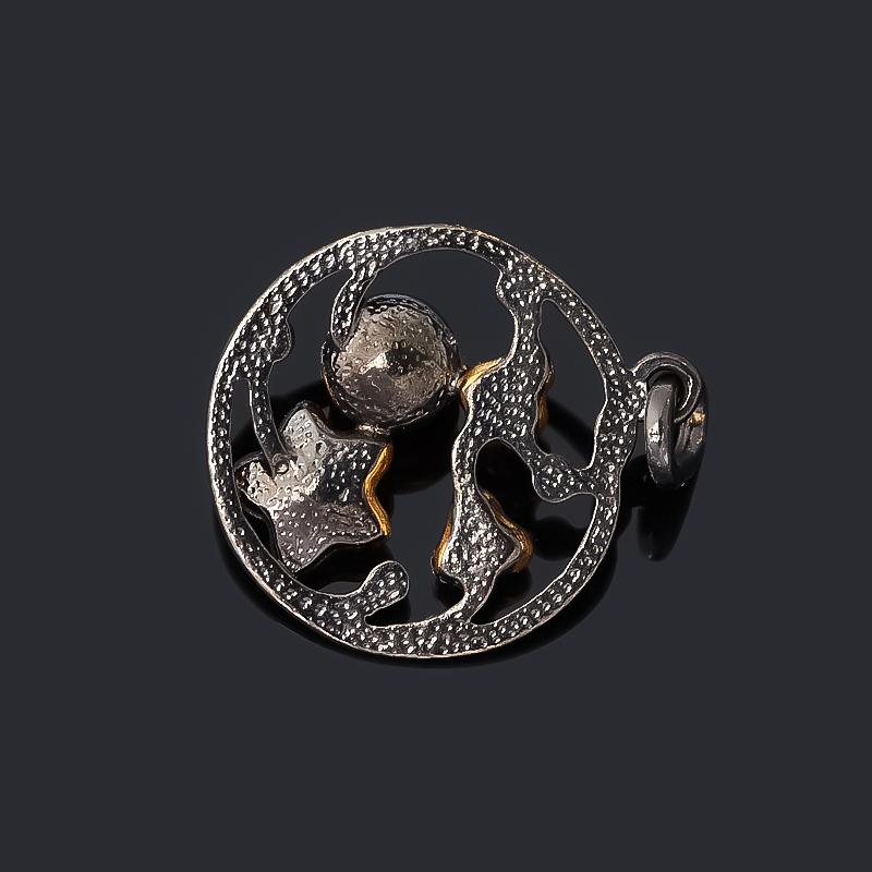 Кулон янтарь пресс Россия (серебро 925 пр. позолота, родир. черн.) круг