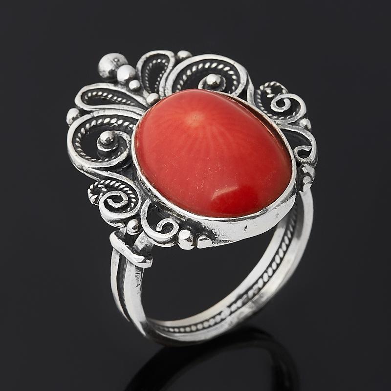 Кольцо коралл красный (серебро 925 пр. оксидир.) размер 18,5 браслет коралл красный 17 cм серебро 925 пр позолота