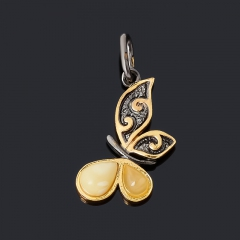 Кулон янтарь Россия (серебро 925 пр. позолота, родир. черн.) бабочка