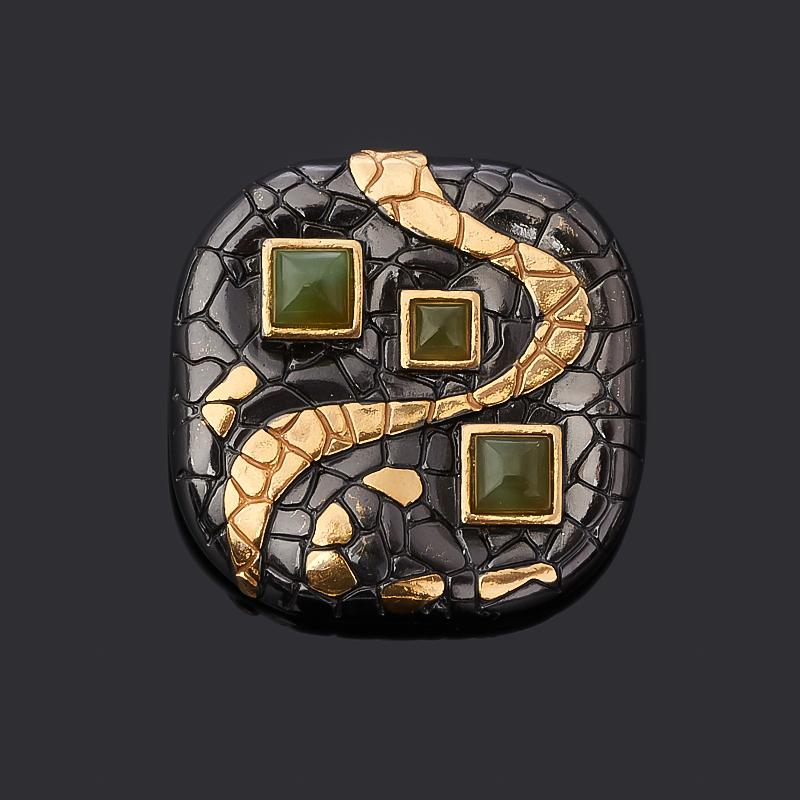 Кулон нефрит зеленый (серебро 925 пр. позолота, родир. черн.) квадрат