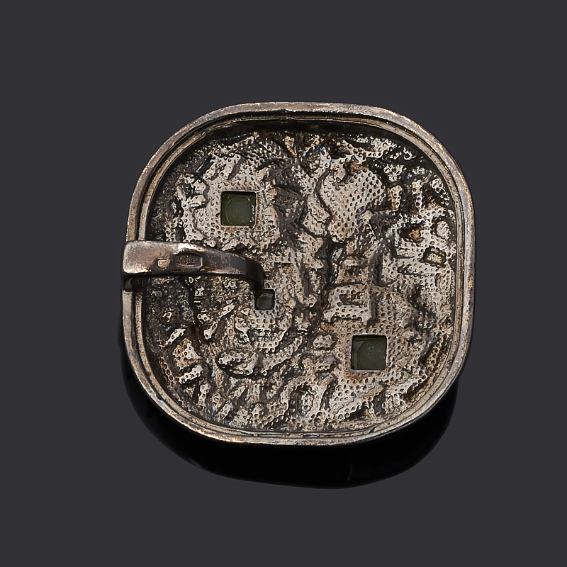 Кулон нефрит зеленый Россия (серебро 925 пр. позолота, родир. черн.) квадрат