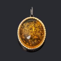Кулон янтарь пресс Россия (серебро 925 пр. позолота, родир. черн.) овал
