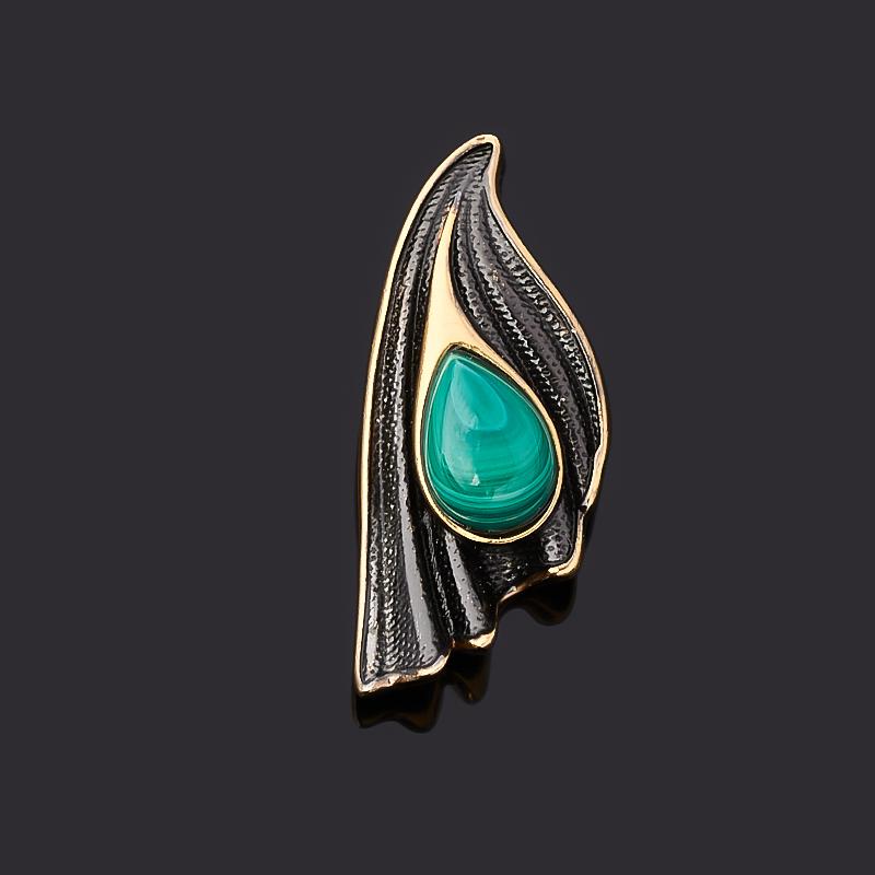 Кулон малахит (серебро 925 пр. позолота, родир. черн.)