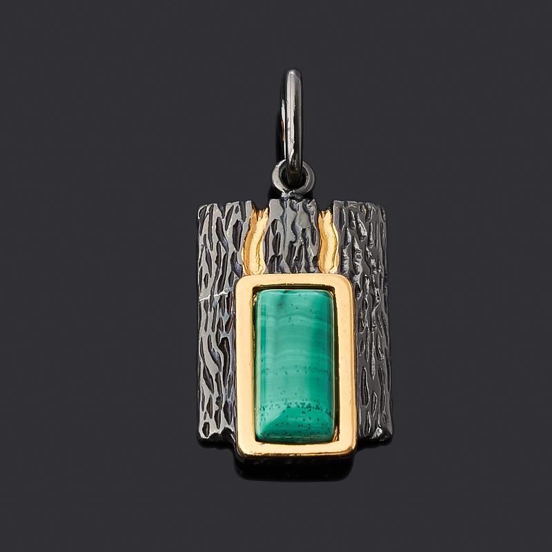 Кулон малахит (серебро 925 пр. позолота, родир. черн.) прямоугольник