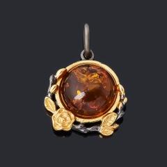 Кулон янтарь пресс Россия (серебро 925 пр. позолота, родир. черн.)