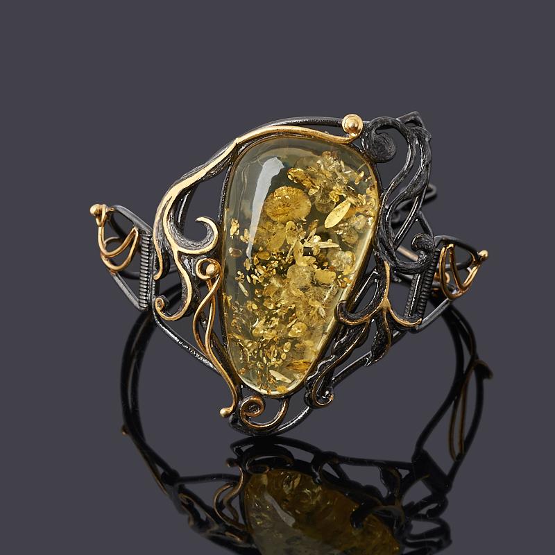 Браслет янтарь (серебро 925 пр. позолота, родир. черн.) 17 см (+2 см)