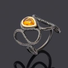 Кольцо янтарь Россия (серебро 925 пр. позолота, родир. черн.) размер 18,5