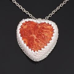 Кулон коралл красный Индонезия (биж. сплав, кожа натуральная) сердечко 3,5 см