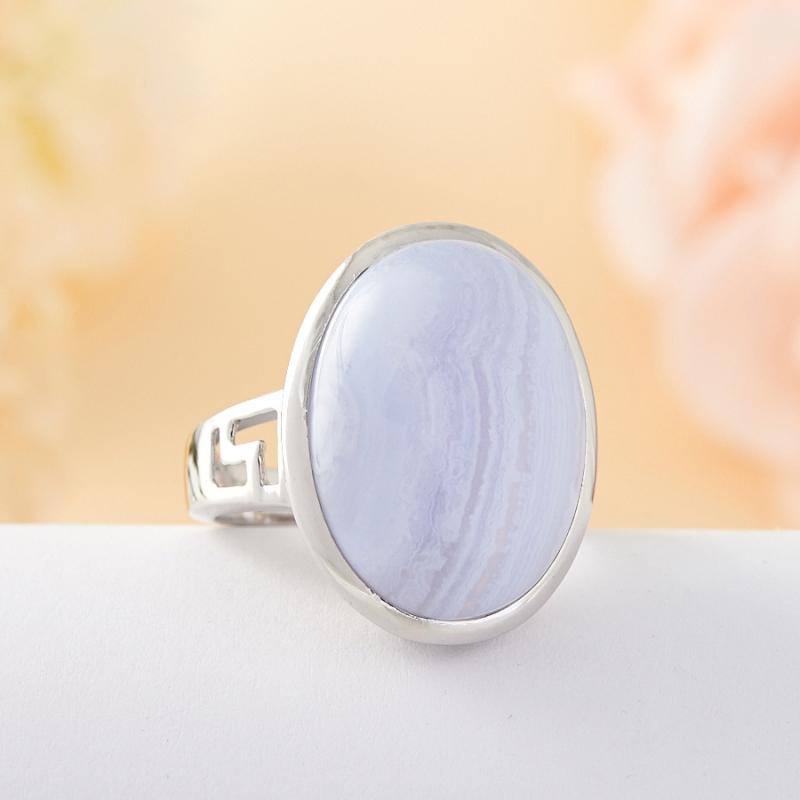 Кольцо голубой агат Намибия (серебро 925 пр.) размер 21