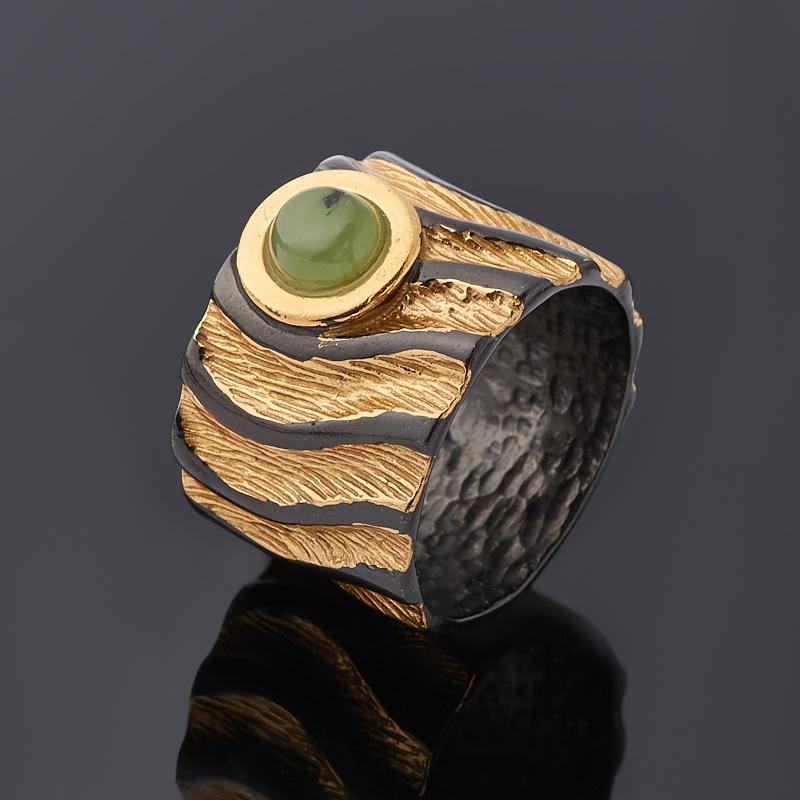 Кольцо нефрит зеленый (серебро 925 пр. позолота, родир. черн.) размер 17 фото