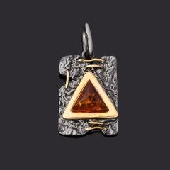 Кулон янтарь пресс Россия (серебро 925 пр. позолота, родир. черн.) прямоугольник