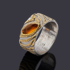 Кольцо янтарь Россия (серебро 925 пр. позолота, родир. бел.) размер 18