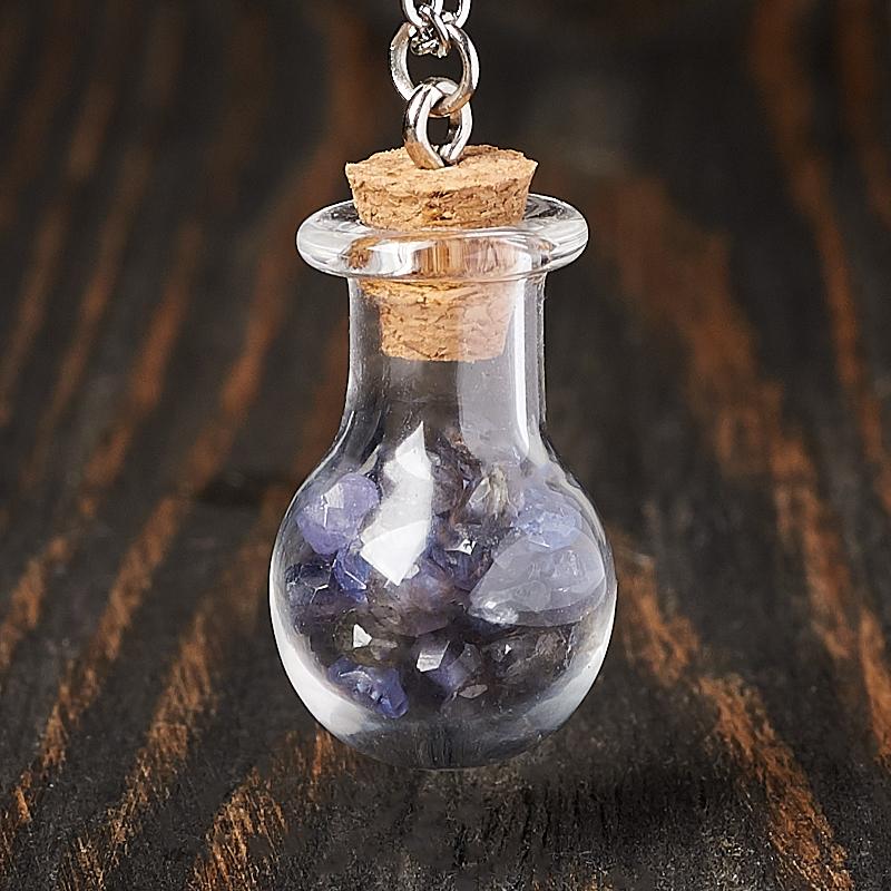 Кулон микс иолит (кордиерит), танзанит (биж. сплав) бутылочка огранка 3 см