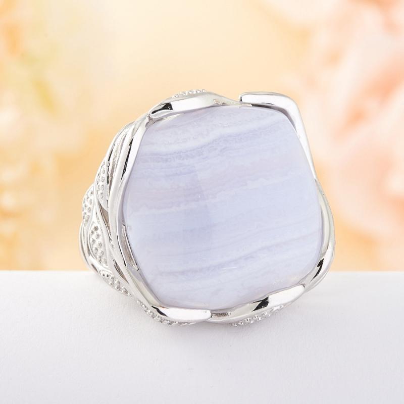 Кольцо голубой агат Намибия (серебро 925 пр.) размер 20