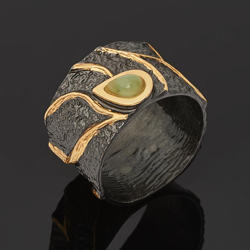 Кольцо нефрит зеленый (серебро 925 пр. позолота, родир. черн.) размер 18