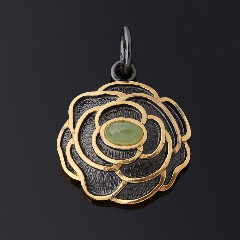 Кулон нефрит зеленый (серебро 925 пр. позолота, родир. черн.) цветок кулон загадочный цветок lotus