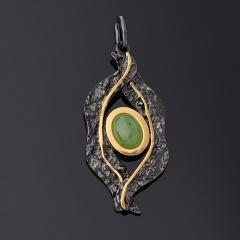 Кулон нефрит зеленый Россия (серебро 925 пр. позолота, родир. черн.)
