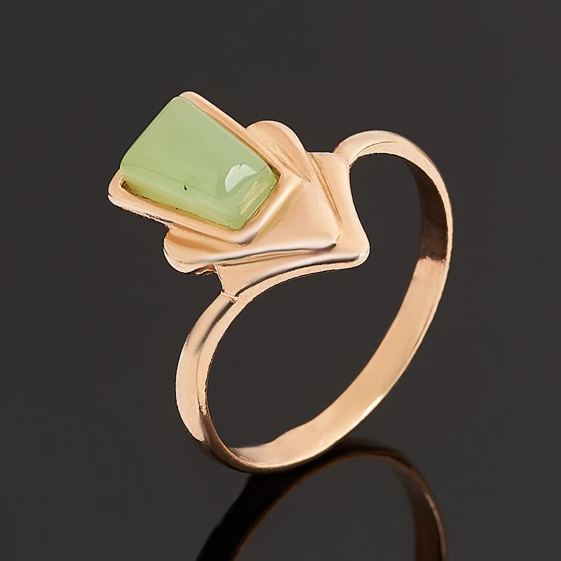 Кольцо нефрит зеленый Россия (серебро 925 пр. позолота) размер 18