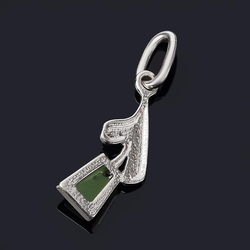 Кулон нефрит зеленый Россия (серебро 925 пр. родир. бел.)