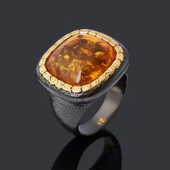 Кольцо янтарь пресс Россия (серебро 925 пр. позолота, родир. черн.) размер 19