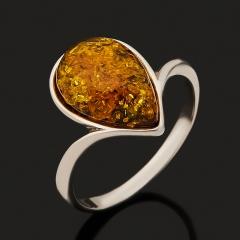 Кольцо янтарь (дублет) Россия (серебро 925 пр. родир. бел.) размер 18