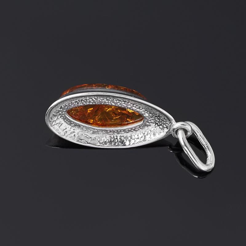 Кулон янтарь пресс Россия (серебро 925 пр. родир. бел.) овал