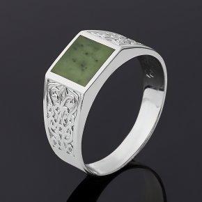 Кольцо нефрит зеленый Россия (серебро 925 пр. родир. бел.) размер 21