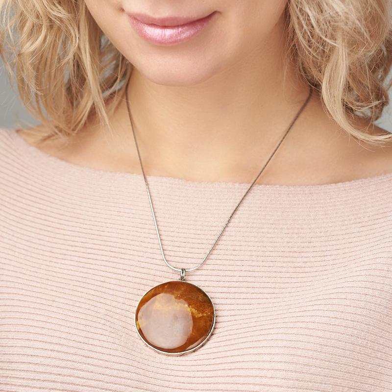 Кулон симбирцит Россия круг (нейзильбер, биж. сплав) 5,5 см