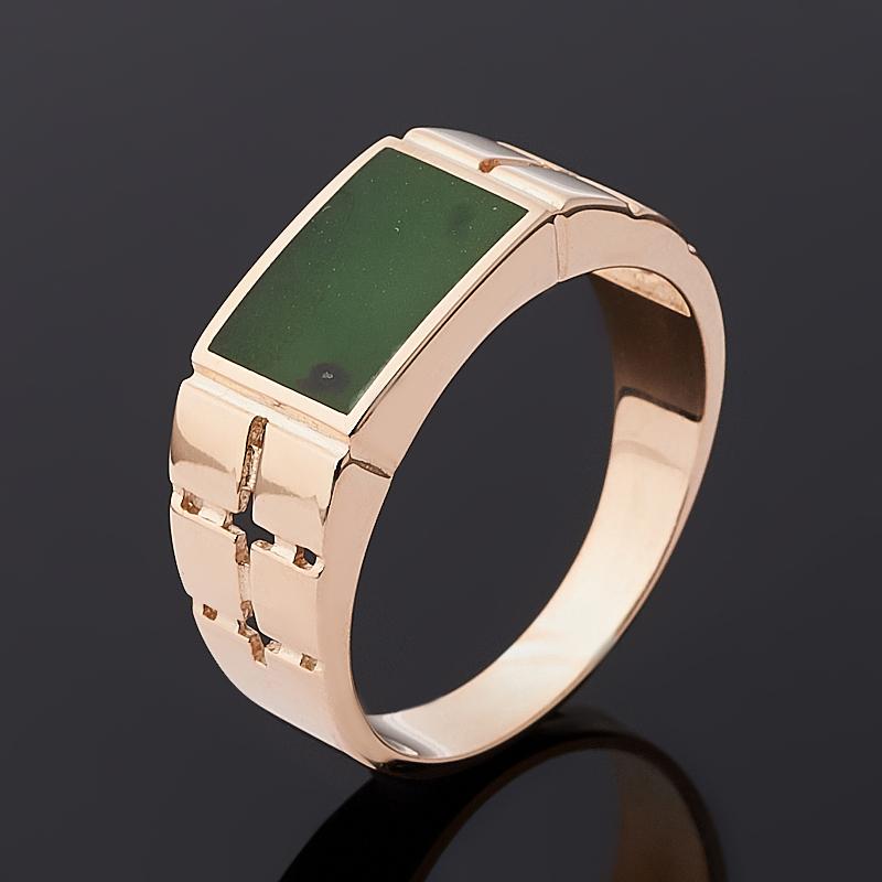 Кольцо нефрит зеленый Россия (серебро 925 пр. позолота) размер 20,5