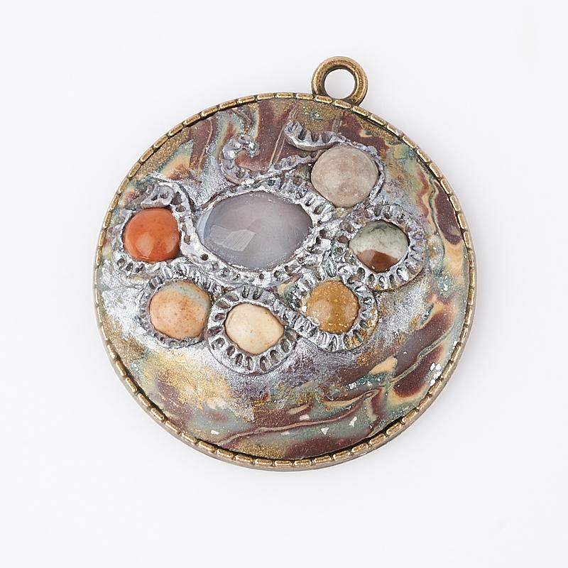 Кулон микс агат, яшма (биж. сплав, глина полимерная) круг 4 см