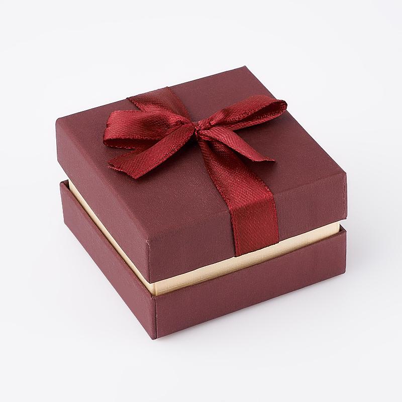 Подарочная упаковка (картон) под комплект (кольцо, серьги, кулон) (бордовый) 60х60х35 мм подарочная упаковка под комплект кольцо серьги кулон 80х65х25 мм