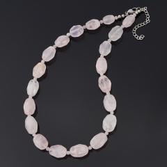 Бусы розовый кварц Бразилия (биж. сплав, сталь хир.) огранка 46 см (+7 см)
