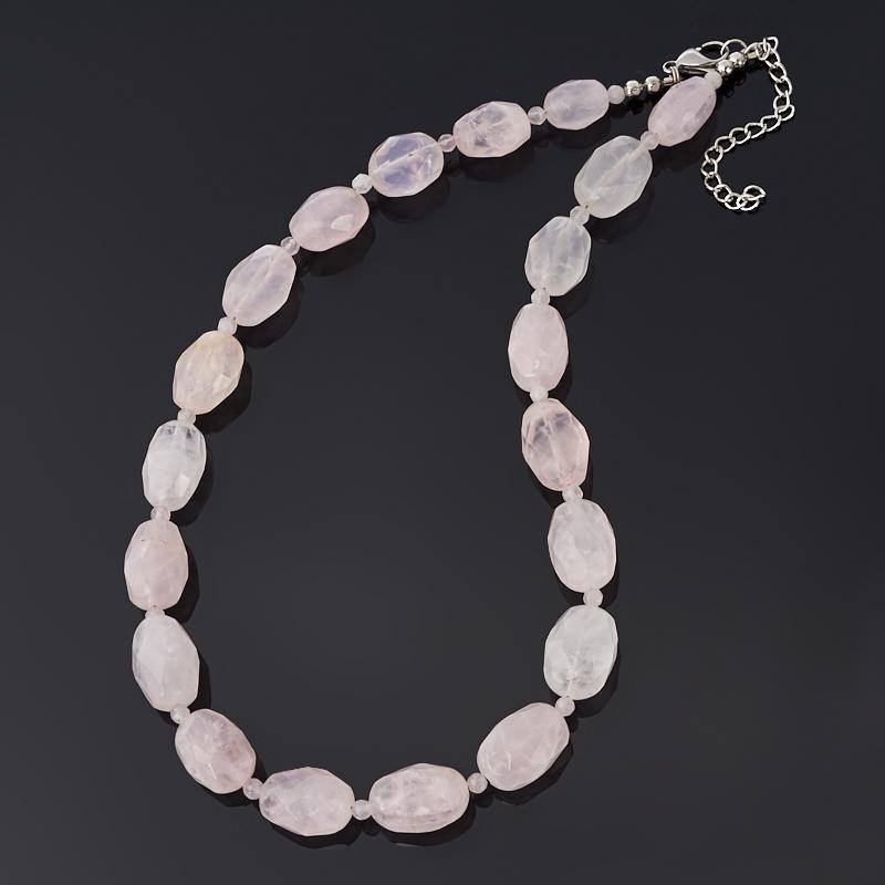 Бусы розовый кварц (биж. сплав, сталь хир.) огранка 46 см (+7 см) бусы опал розовый 6 мм 46 51 см хир сталь