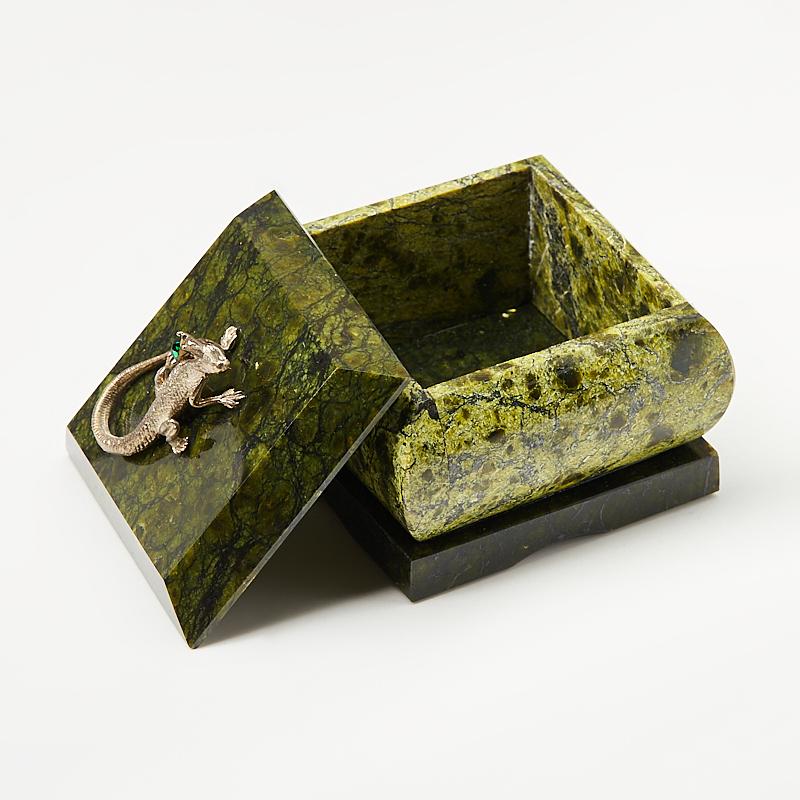 Шкатулка змеевик Россия 6,5х6,5х7 см