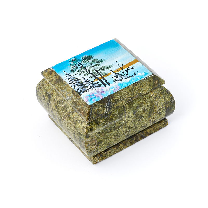 цена на Шкатулка змеевик 8х8х5,5 см