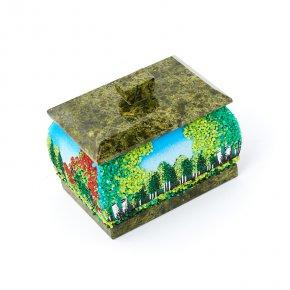 Шкатулка микс змеевик, мрамор 9х6х7 см