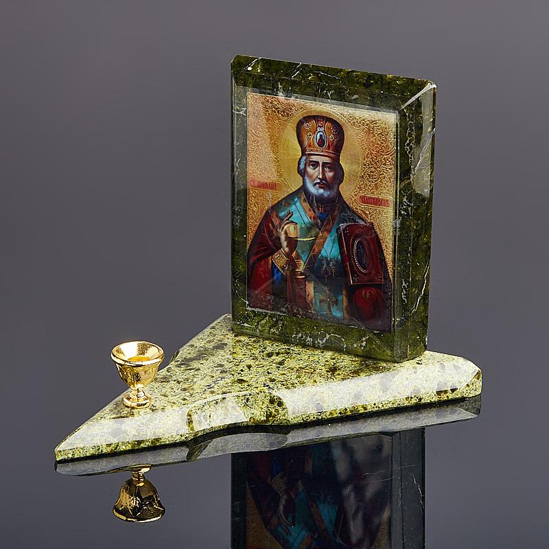 Подсвечник змеевик Николай Чудотворец 11 см ключница sima land николай чудотворец 14 х 22 см