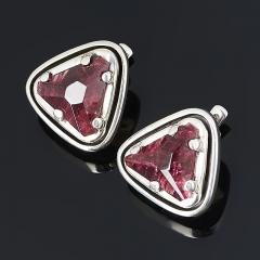 Серьги турмалин розовый (рубеллит) Россия (серебро 925 пр. оксидир.)