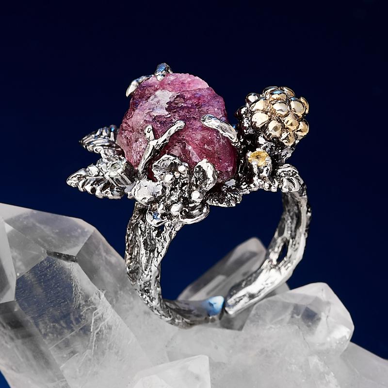 Кольцо турмалин розовый (рубеллит)  (серебро 925 пр. позолота, родир. бел., родир. черн.) (регулируемый) размер 18