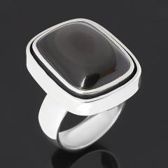Кольцо обсидиан радужный Мексика (серебро 925 пр. оксидир.) размер 17,5