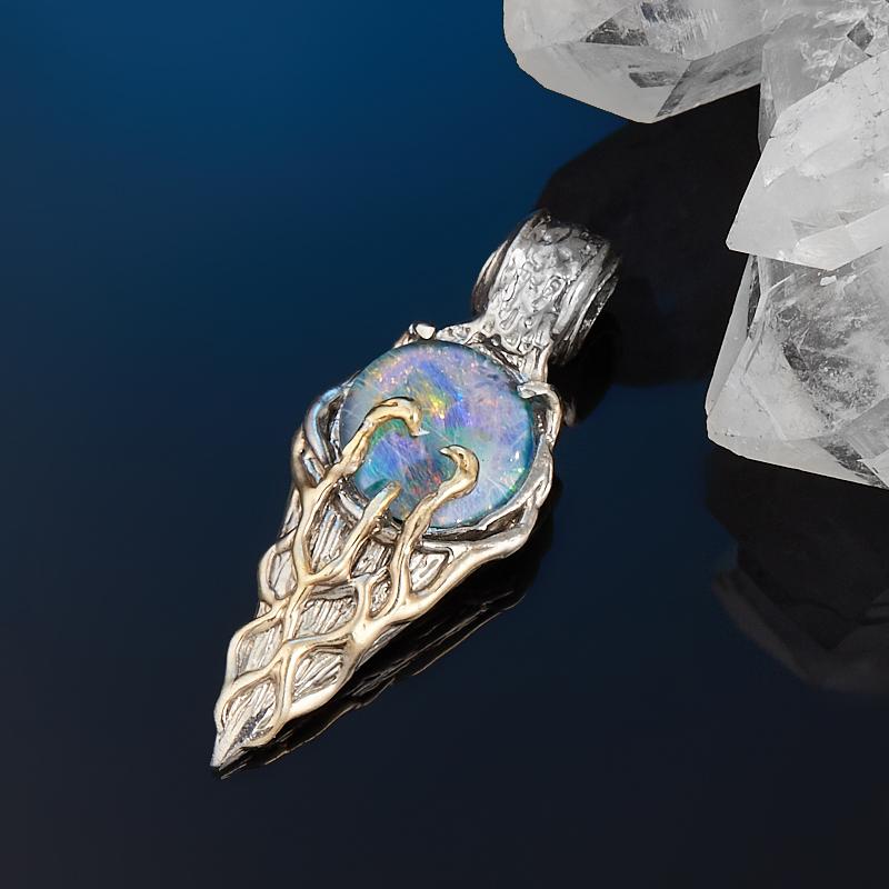 Кулон опал благородный голубой (триплет) (серебро 925 пр. позолота, родир. сер.)