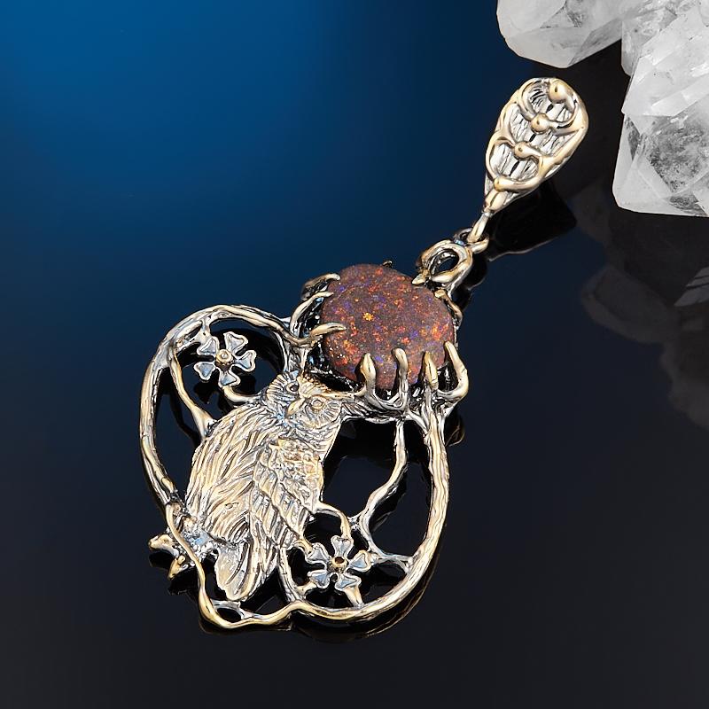 Кулон опал благородный черный Австралия (серебро 925 пр. позолота, родир. сер.)