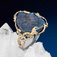 Кольцо опал благородный черный Австралия (серебро 925 пр. позолота, родир. сер.) размер 19