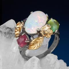 Кольцо микс опал, турмалин, хризолит (серебро 925 пр. позолота, родир. сер.) размер 18,5