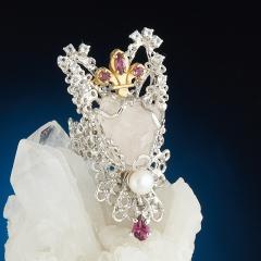Кольцо розовый кварц Индия (серебро 925 пр. позолота, родир. бел.) (регулируемый) размер 18,5