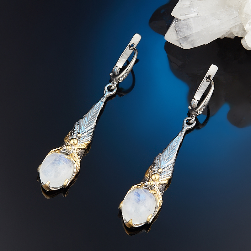 Серьги лунный камень (адуляр) (серебро 925 пр. позолота, родир. сер.)